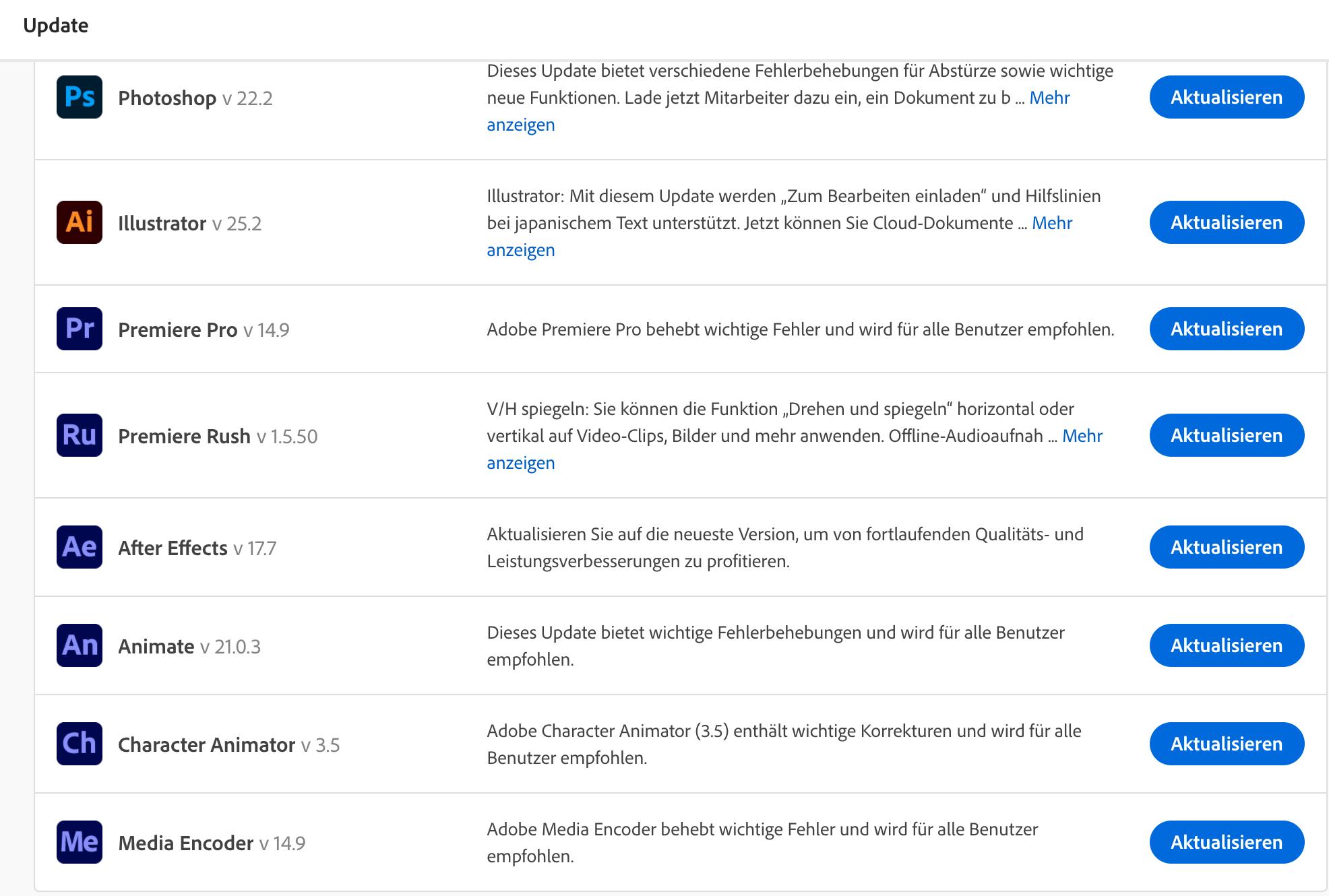 Übersicht über Updates von Programmen aus der Adobe Creative Cloud