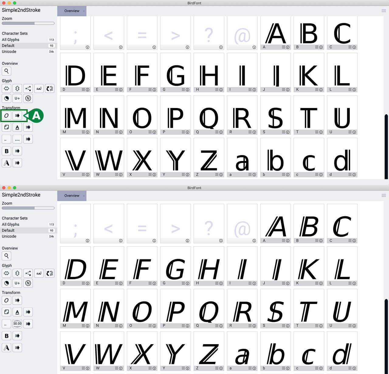 Screenshot für regular und kursiven Font