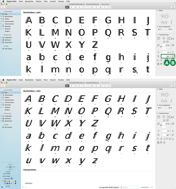 Screenshots aus Glyphs Mini 2