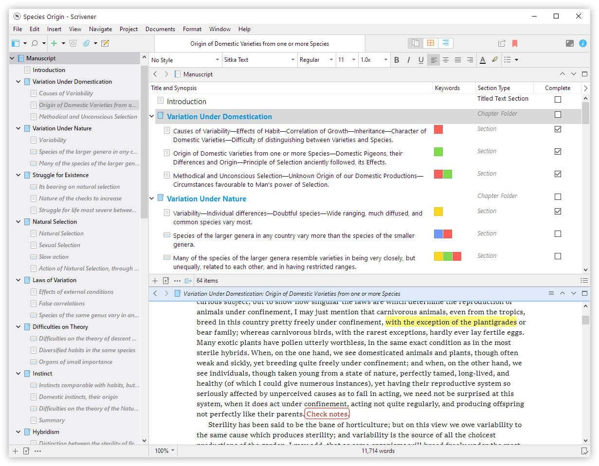 Screenshot Scrivener 3 unter Windows