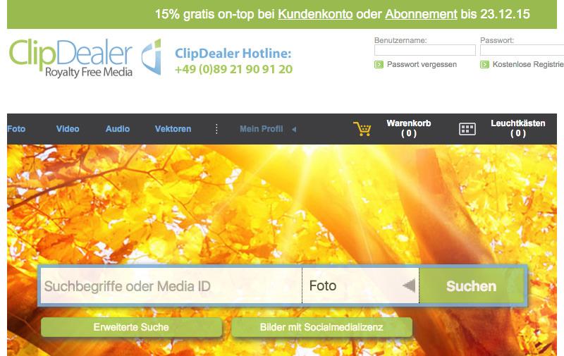Screenshot: clipdealer.de