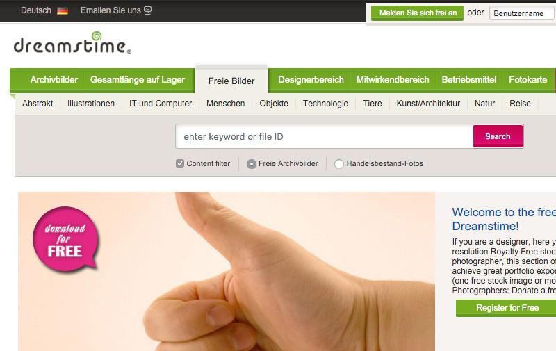 Screenshot: de.dreamstime.com/free-photos