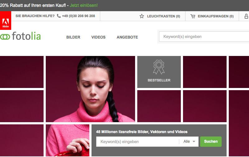 Screenshot: de.fotolia.com
