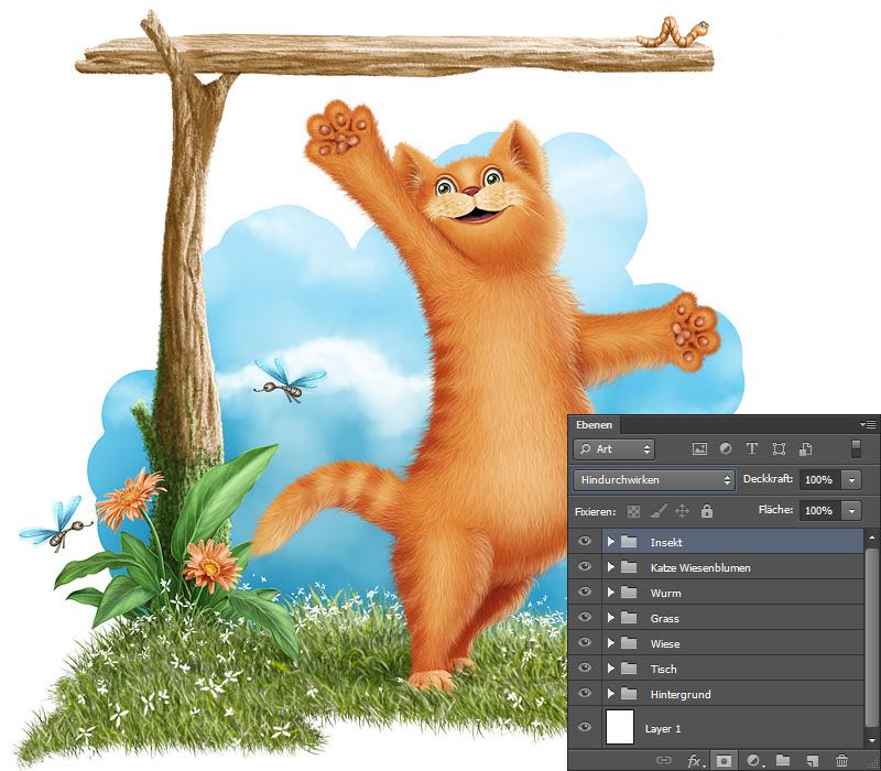 katze mit fisch malen, tutorial illustration - auf der fischjagd! - teil 2 - hintergrund, Design ideen