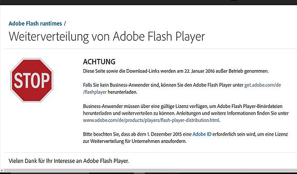 Adobe Flash Player wird lizenziert