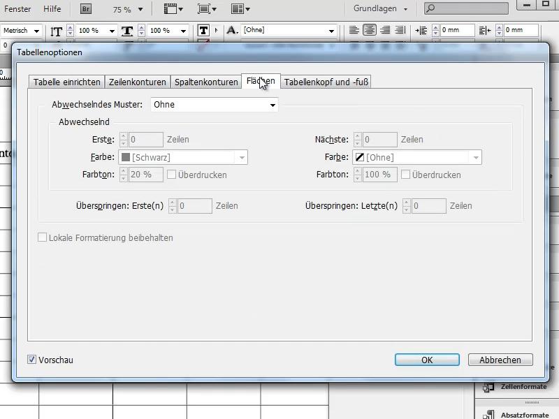 Tabellenoptionen: Register: Flächen