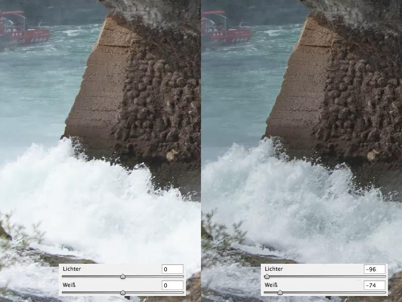 Camera Raw: Reduktion Lichter und Weiß-Anteil