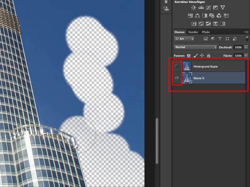 Wirkungsspuren des Hintergrund-Radierers. Das freizustellende Gebäude wird durch die Funktion des Werkzeugs vom Löschvorgang verschon.