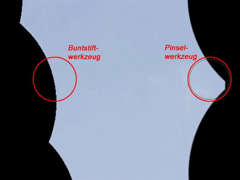 Vergleich des Buntstiftwerkzeugs und der Pinsels anhand der Pinselräder bei 100% Werkzeughärte.