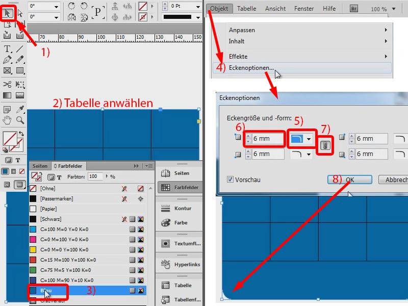 InDesign Tabelle – runde Ecke – abgerundete Ecken | InDesign ...