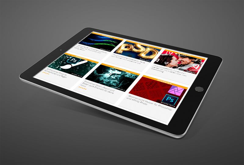 Screenshot Shop PSD-Tutorials.de auf einem Tablet