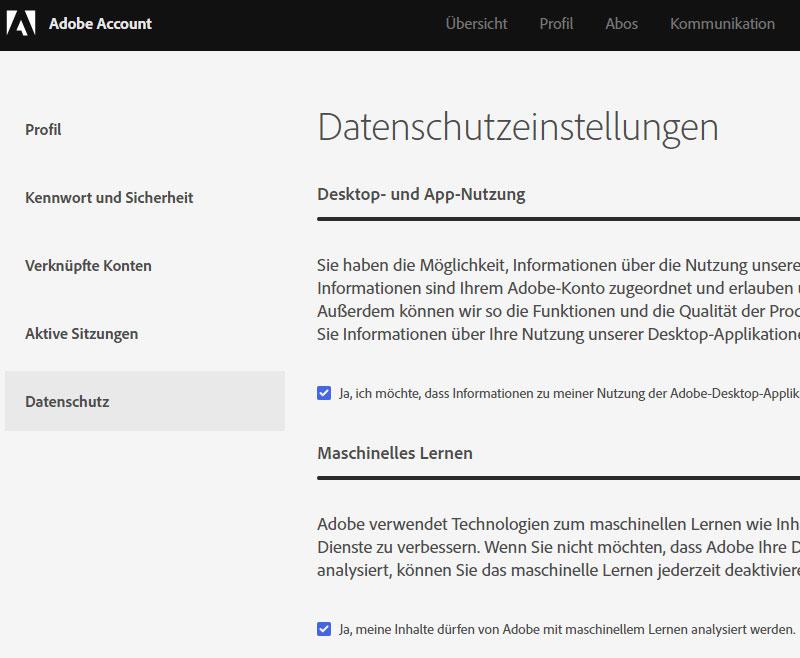Adobe Datenschutz