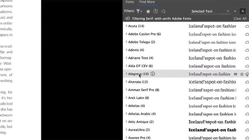 Zugriff auf Adobe Fonts in InDesign CC