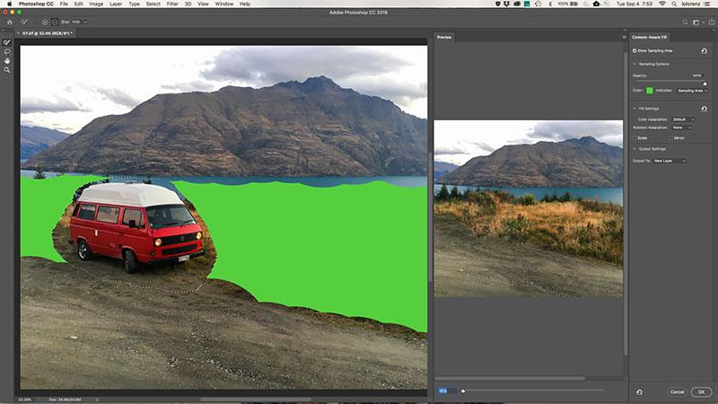 Fenster inhaltsbasiertes Füllen in Photoshop CC