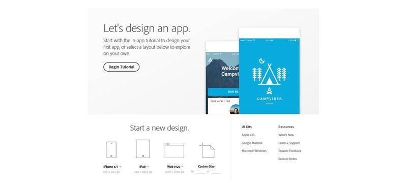 Adobe Experience Design Startbildschirm