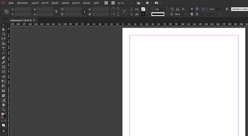 Benutzeroberfläche von InDesign CC (Farbvariante)