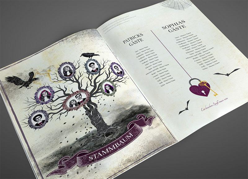 Musterseite für eine Hochzeitszeitung im Gothic-Style