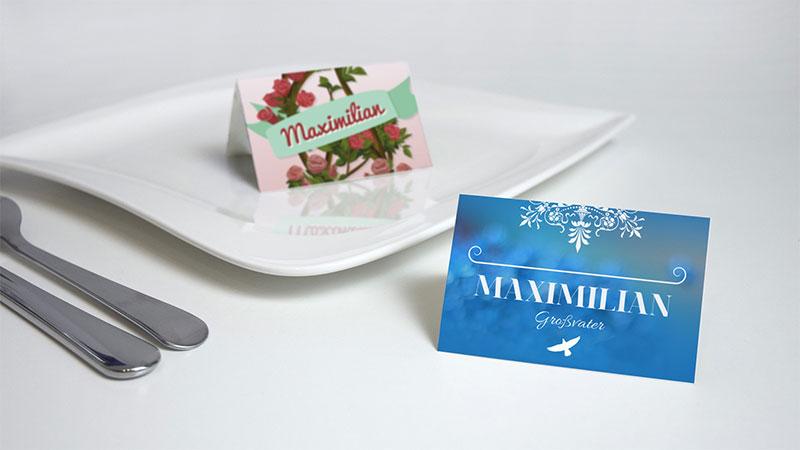 Designs für eine Tischkarte zu einer Hochzeit