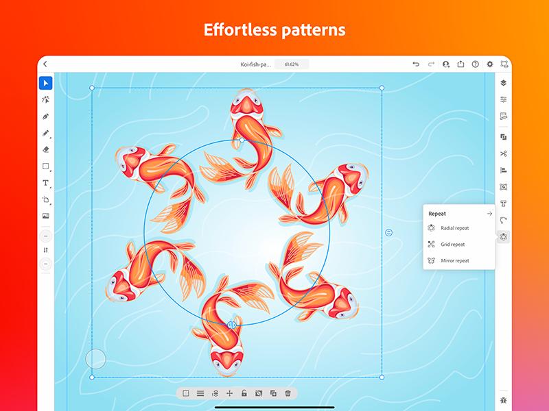 Illustrator für iPad bringt Werkzeuge zur Wiederholung grafischer Elemente mit.