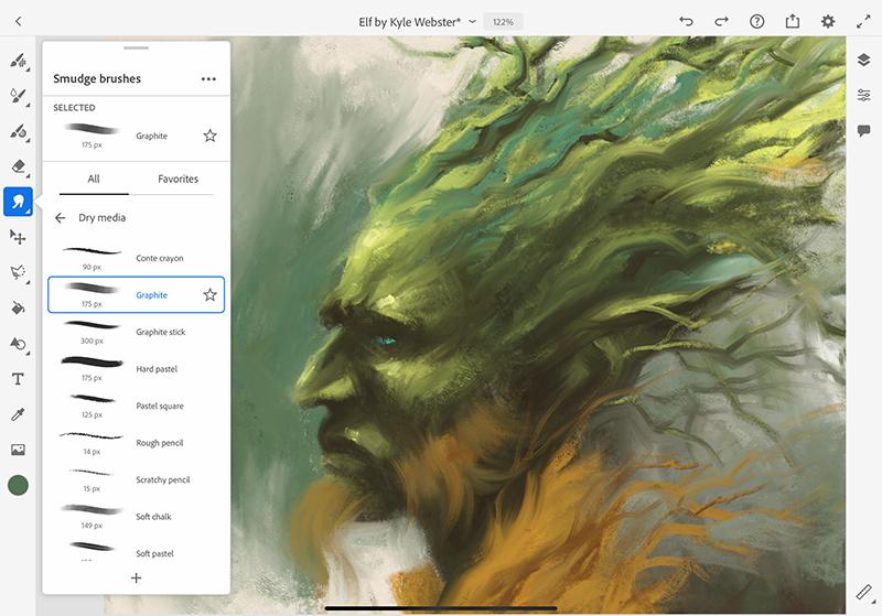 Adobe Fresco erhält eine Funktion zum Verschmieren.
