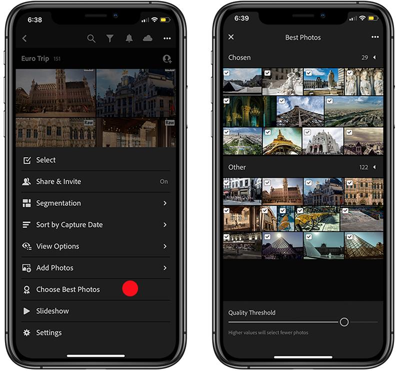 """In Lightroom mobile steht eine Funktion zur Erkennung """"bester Fotos"""" eines Album bereit."""