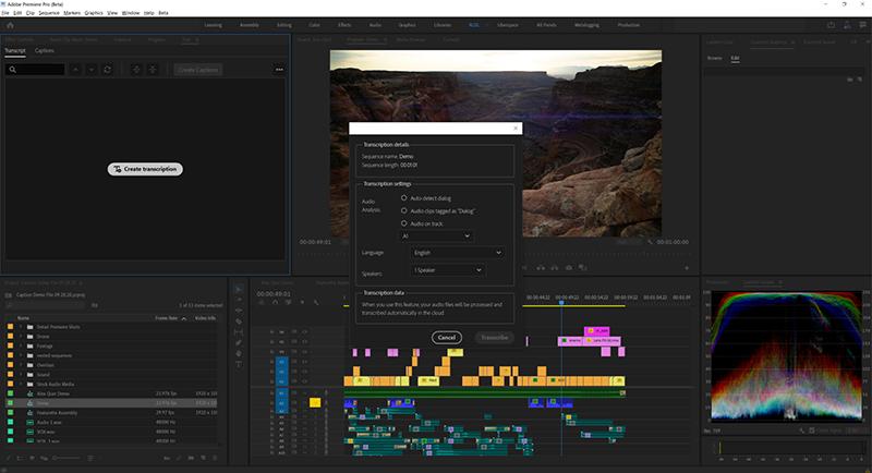 Transkriptionsfunktion in Premiere Pro CC