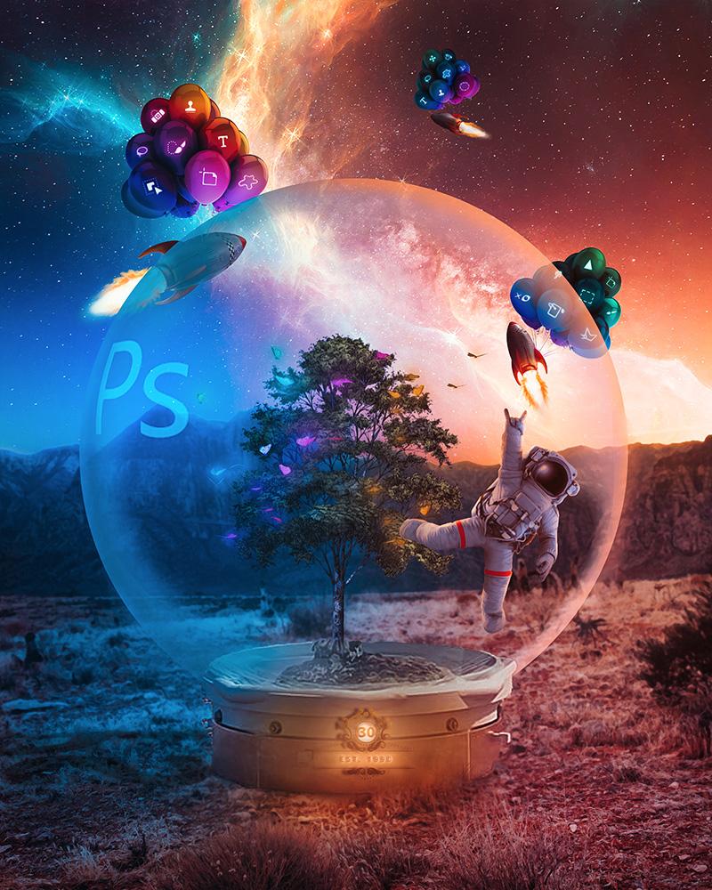 Illustratives Bild zum 30-jährigen Jubiläum von Photoshop von Adobe