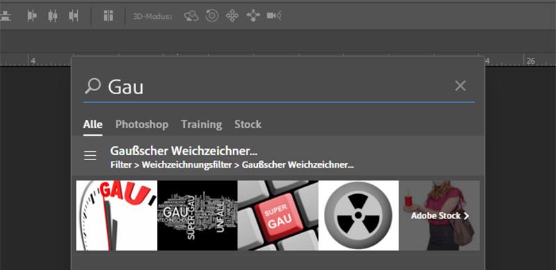 Photoshop – neues Suchen-Bedienfeld