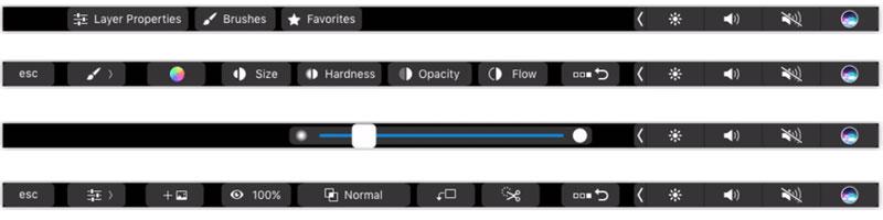 Photoshop-Funktionen für die Touch-Bar des MacBook Pro