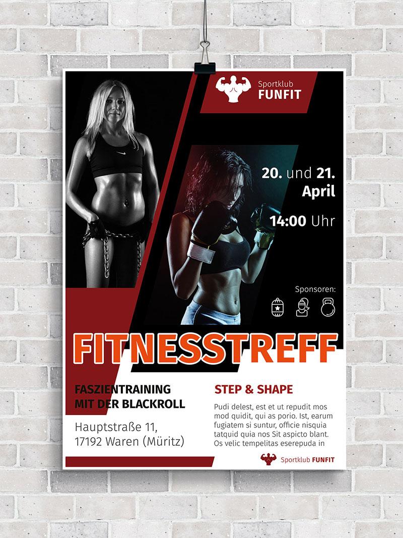 Vorlage für Flyer und Plakat: Fitness