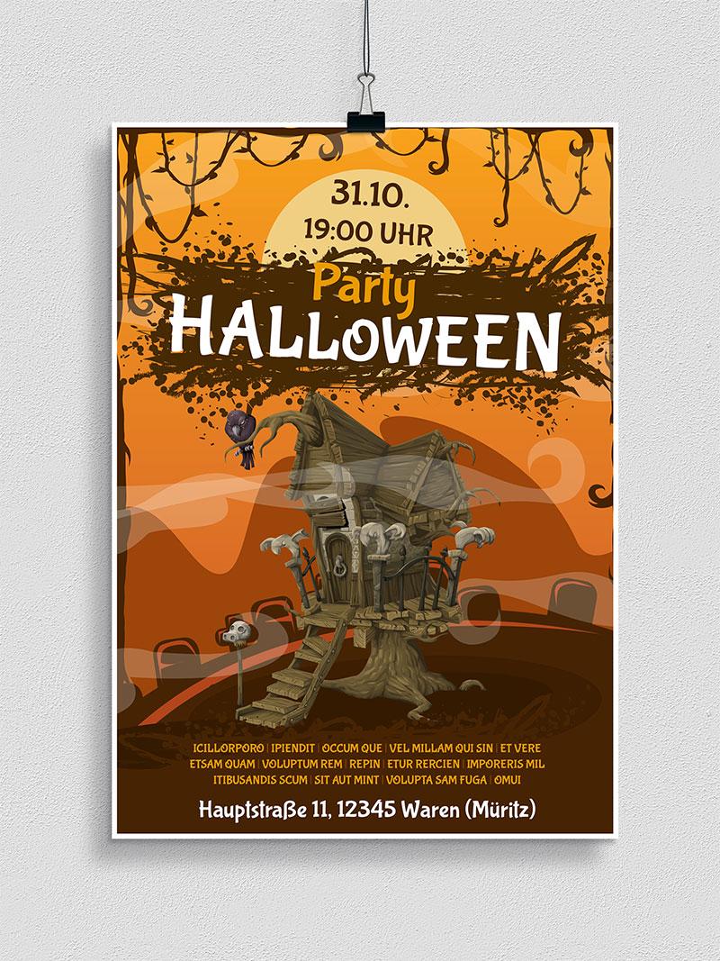Vorlage für Flyer und Plakat: Halloween