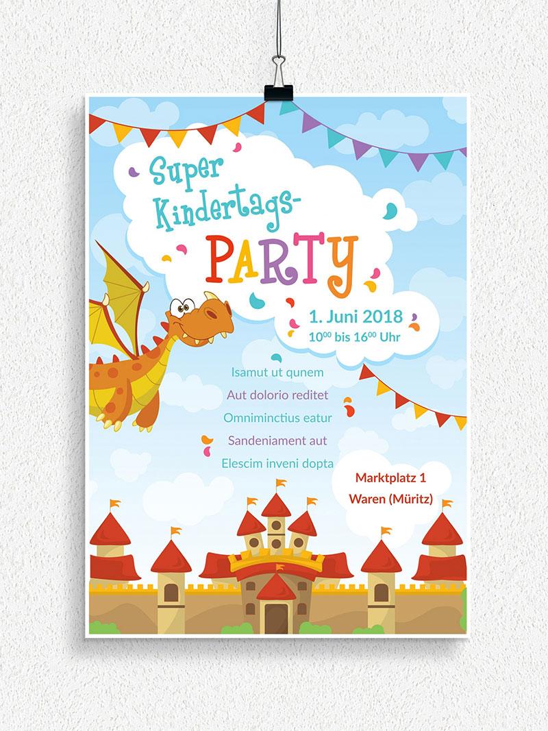 Vorlage für Flyer und Plakat: Kindergeburtstag