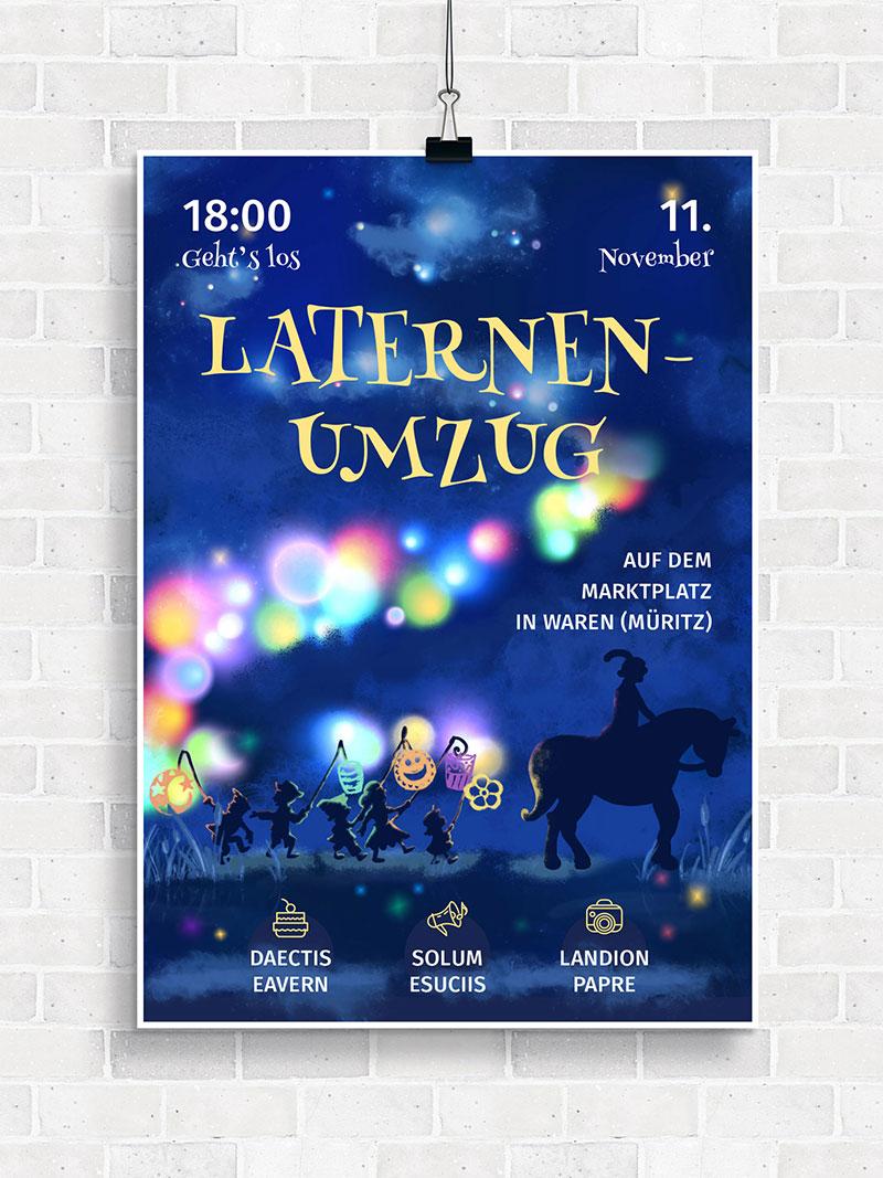 Vorlage für Flyer und Plakat: Laternenumzug
