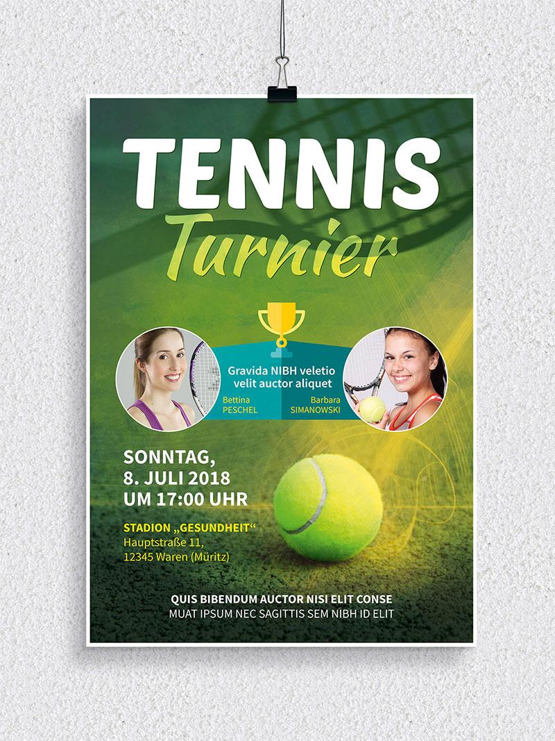 Vorlage für Flyer und Plakat: Tennisturnier