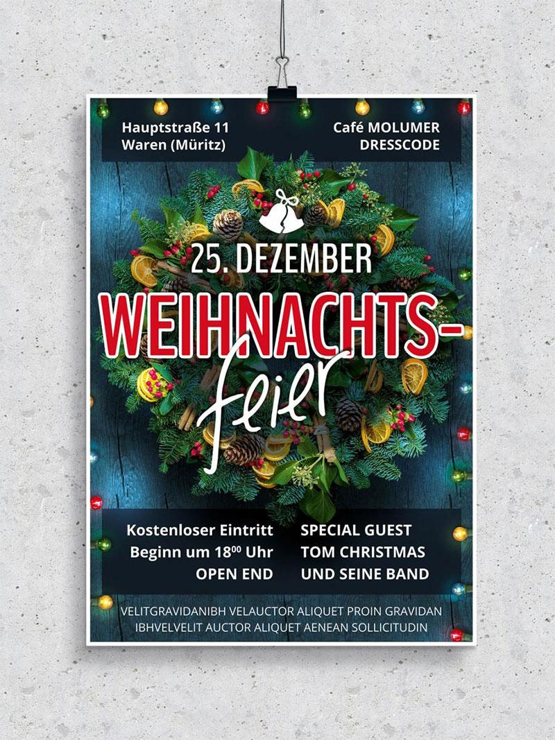 Vorlage für Flyer und Plakat: Weihnachtsfeier