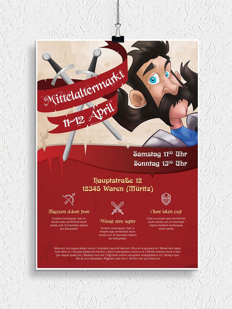 Vorlage für Flyer und Plakat: Mittelaltermarkt