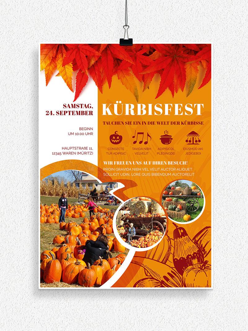 Vorlage für Flyer und Plakat: Kürbisfest