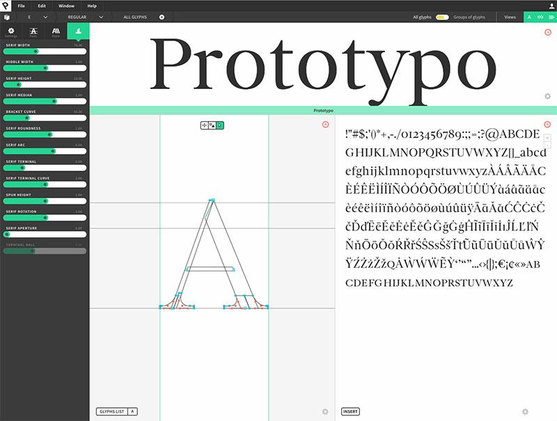 Prototypo: Benutzeroberfläche