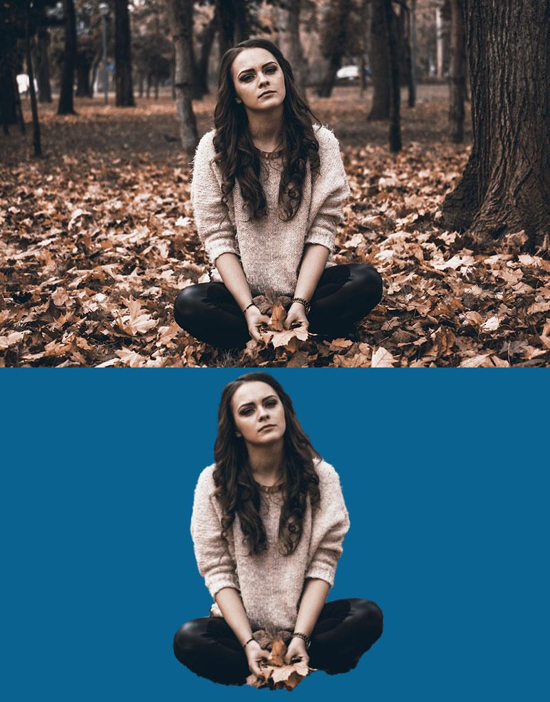 Original vs Person ohne Hintergrund
