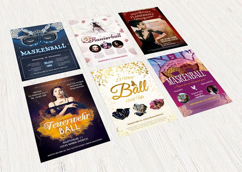 Design-Vorlagen für Tanzevents und Ballnächte