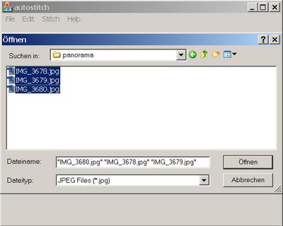 Autostitch Datei öffnen