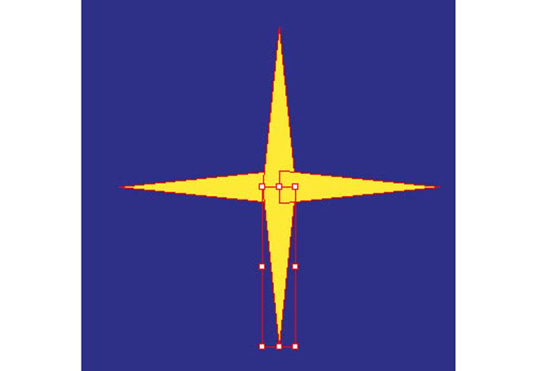 Stern mit vier Spitzen