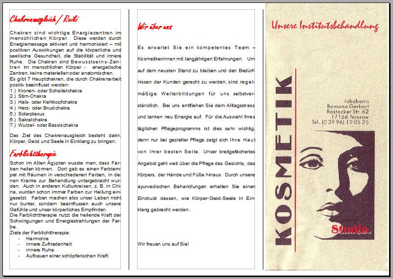 Flyerdesign im Faltformat am Beispiel eines Kosmetikstudios ...