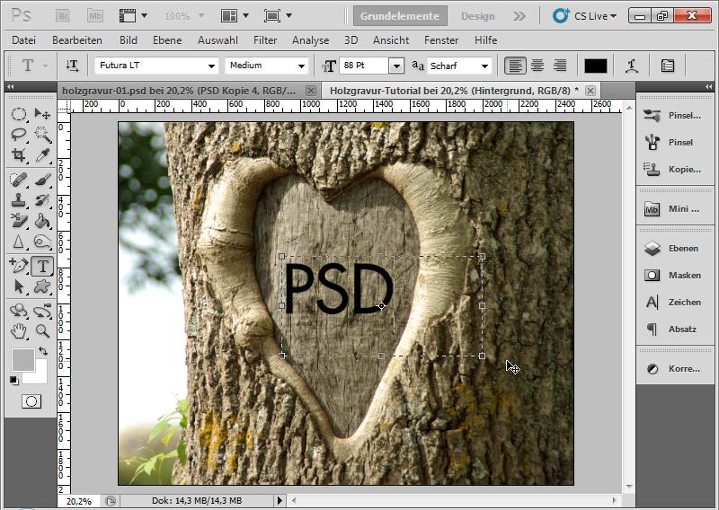 Photoshop schrift hintergrund stanzen