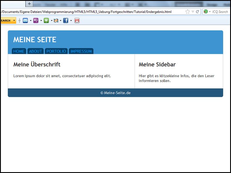 Tutorial HTML5: Erstellung eines Grundgerüsts mit HTML5 / CSS3