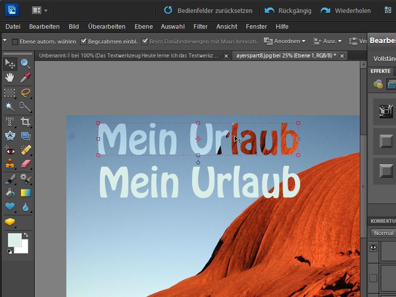 Texte erstellen und bearbeiten   Photoshop-Elements-Tutorials.de