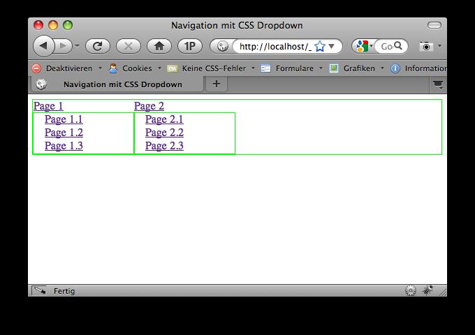 Ansicht mit der Webdeveloper Toolbar