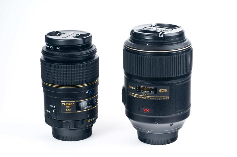 Sehr beliebt sind Makroobjekte mit 90mm Brennweite (links Tamron 90mm SP Di) oder 105mm Brennweite (rechts Nikkor VR 105mm F2,8)