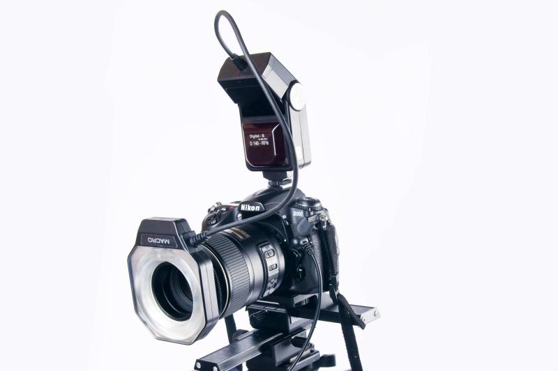Nikon D300 mit Ringblitz am Makro-Objektiv.
