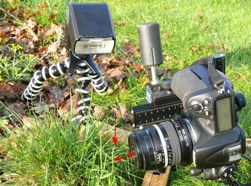 Bei einer Aufnahme mit Objektiv in Retrostellung, hier ein 20-mm-Obejktiv ist der Abstand zum Motiv minimal. Eine Beleuchtung kann dann oft nur seitlich, von unten oder oben erfolgen